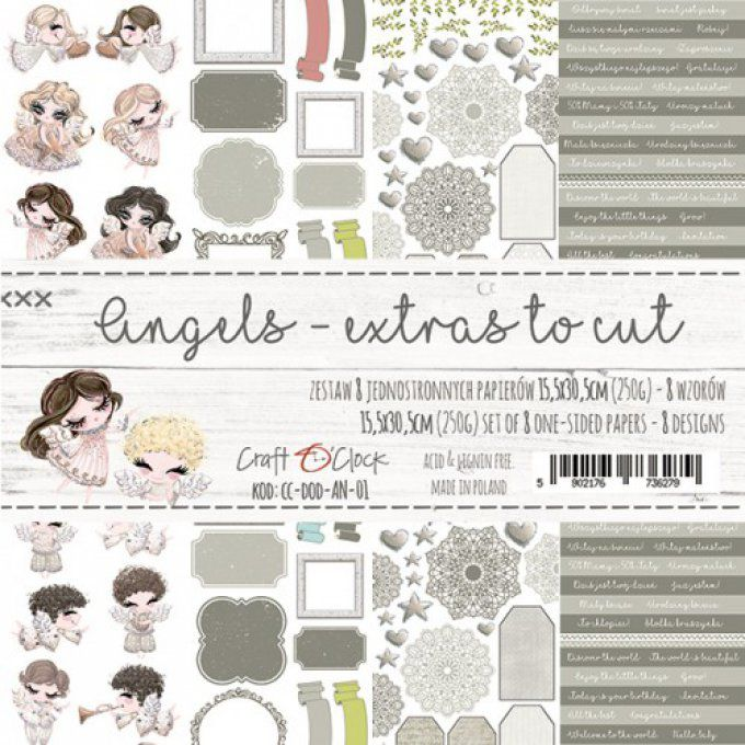 Ensemble de 8 feuilles 15.5X30.5cm, collection : Angels