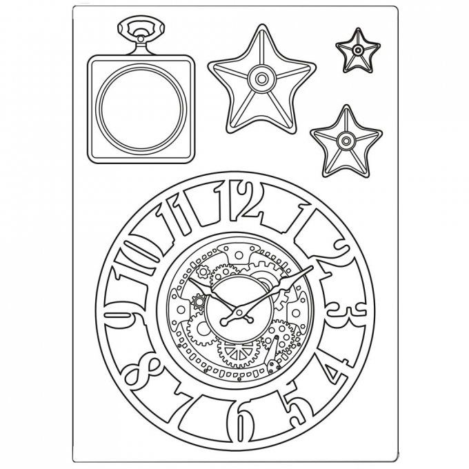 Moule silicone, Stampéria - Format A5 - Sir Vagabond, clocks and stars