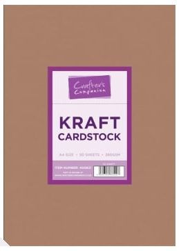 Cardstock, Kraft, Crafter companion, 50 feuilles, A4, 280g