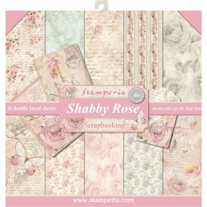 Papier scrapbooking, 30.5x30.5cm, Shabby Rose, Stamperia