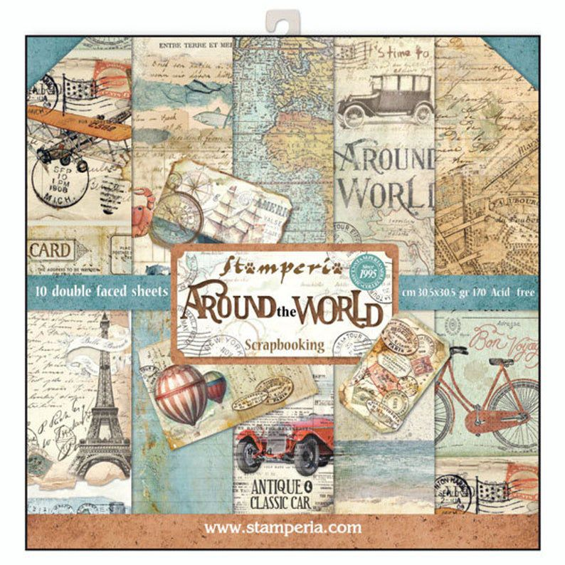 Papier scrapbooking, 30.5x30.5cm, Around the World, Stamperia