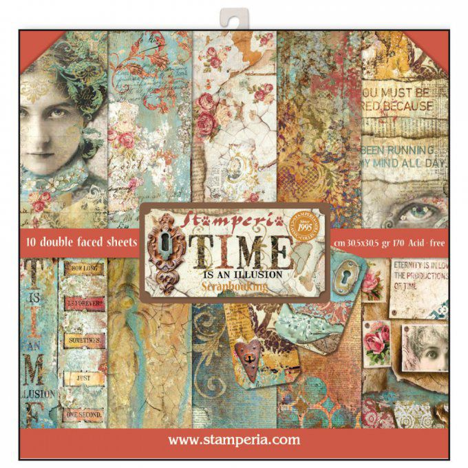 Papier scrapbooking, 30.5x30.5cm, Time is an illusion, Stamperia