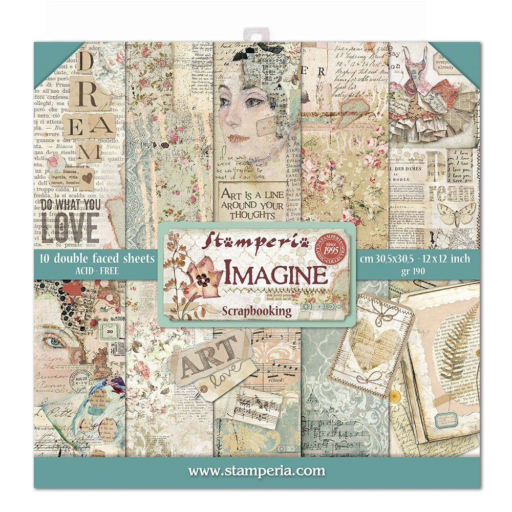 Papier scrapbooking, 30x30cm, Imagine  - Stamperia